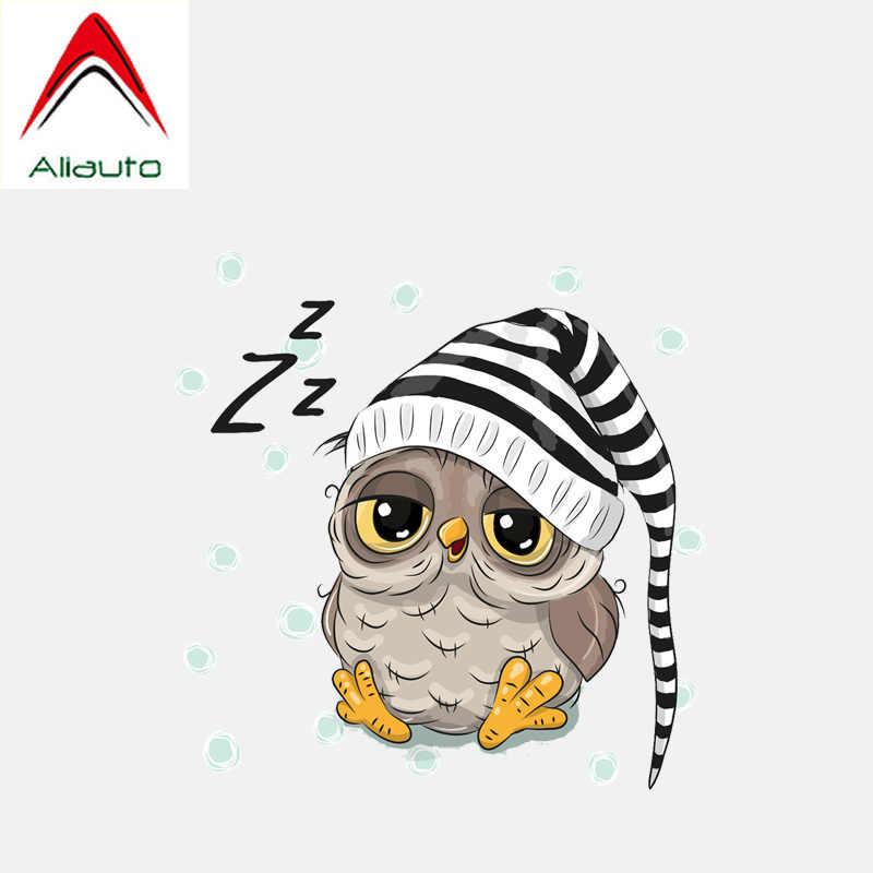 Aliauto dos desenhos animados etiqueta do carro adorável coruja com capa dormindo decoração auto pvc decalque para hyundai toyota kia audi, 13cm * 13cm