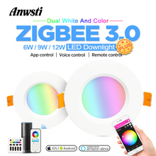 Zigbee Smart Downlight Plus RGBCCT 6W 9W 12W Light Bulb 220V 110V 230V AC Wireless Remote Control Wall Switch Dimmable Recessed LED Sportlight Downlight Work with Zigbee Hub Echo Voice