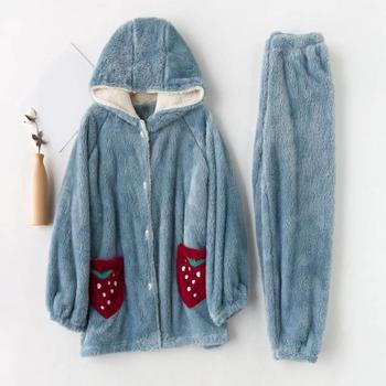 Two Piece Set Women Thick Warm Pajama Set Long Sleeve Full Trousers Flannel Nightgown Solid Winter Hooded Sleepwear Set