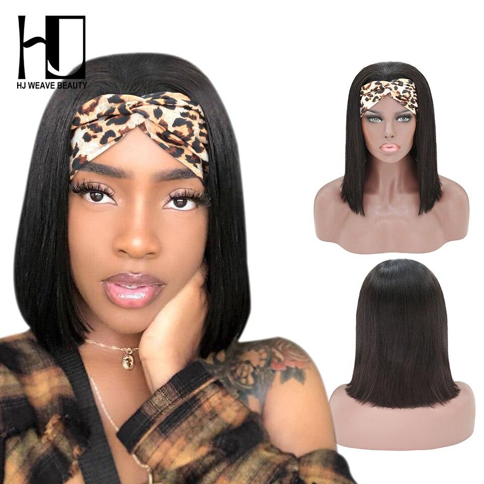 180 densidade bandana perucas de cabelo humano para as mulheres em linha reta curto bob peruca cabelo humano iniciante amigável sem cola perucas acessíveis