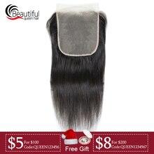Красивые перуанские человеческие волосы 10А 7x7 прозрачное кружевное закрытие прямое кружево Закрытие натуральный цвет свободная часть девственные волосы