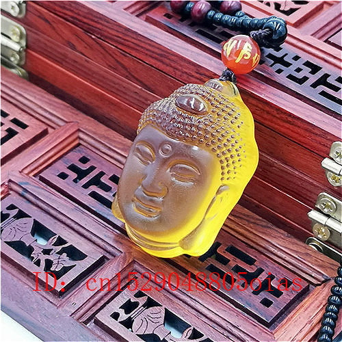 Natural White Yellow Crystal Buddha Head Pendant Necklace Fashion Jewelry Charm Reiki Buddhism Amulet Carved Gifts For Women Men
