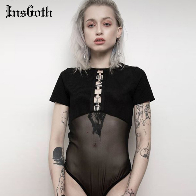 InsGoth Bodycon Mesh Sexy Bodysuits Women Gothic Punk Metal Hollow Out See-through Bodysuits Female Jumpsuits Short Sleeve Bodys
