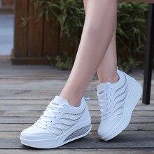 Кроссовки женские на платформе, повседневная обувь, танкетка, дизайнерские, белые