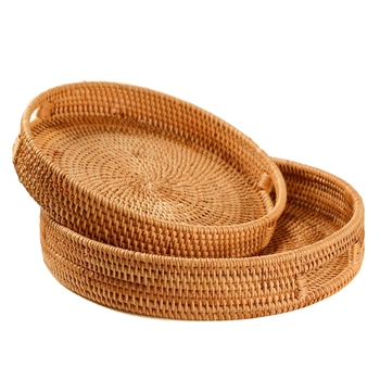 Rattan Handwoven Round High Wall Severing Tray Food Storage Platters Plate over Handles for Breakfast,Drinks,Snack for Coffee Ta
