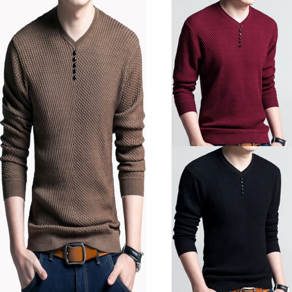 Sweater Men Casual V-Neck Pullover Men Autumn Slim Fit Long Sleeve Shirt Mens Sweaters Knitted Men's Casual Button Sweater