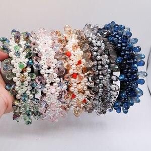 Barokowa luksusowa Vintage korona ślubna kropelki wody perły z pałąkiem na głowę ozdoba na głowę dla panny młodej na ślub akcesoria do włosów kryształowy prezent