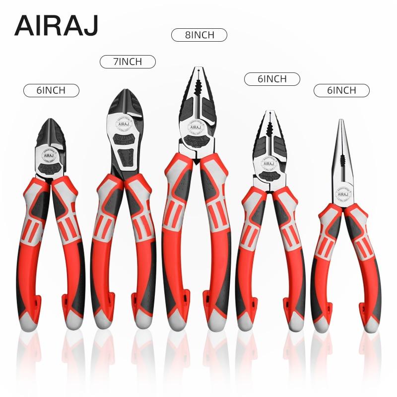 Alicates de corte de alambre multifunción AIRAJ de grado Industrial eléctrico pelado de alambre prensado herramientas manuales fuertes de reparación para el hogar