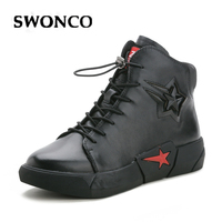 SWONCO Shoes Women Platform Sneakers High Top 2019 Autumn Casual Shoes Female Genuine Leather Shoes Black Sneakers For Womens