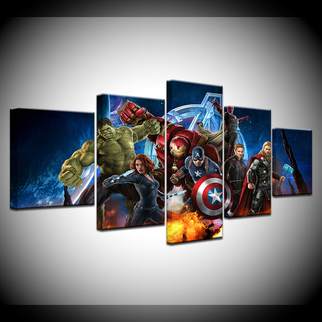 5 Pieces Modular Wall Art Oil Pictures Frame Modern Home Decor the Avengers Movie Canvas Painting Movie Posters And Prints
