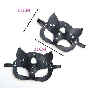 Image 3 - Женская сексуальная искусственная кожа с заклепками верхняя полумаска для лица Стразы кошачьи заячьи ушки косплей для взрослых игра маскарадный мяч карнавальные маски