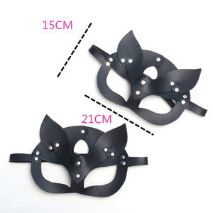 Image 3 - Women Sexy Pu Leather Rivet Upper Half Face Mask Rhinestone Cat Bunny Ear Cosplay Adult Play Game Masquerade Ball Carnival Masks
