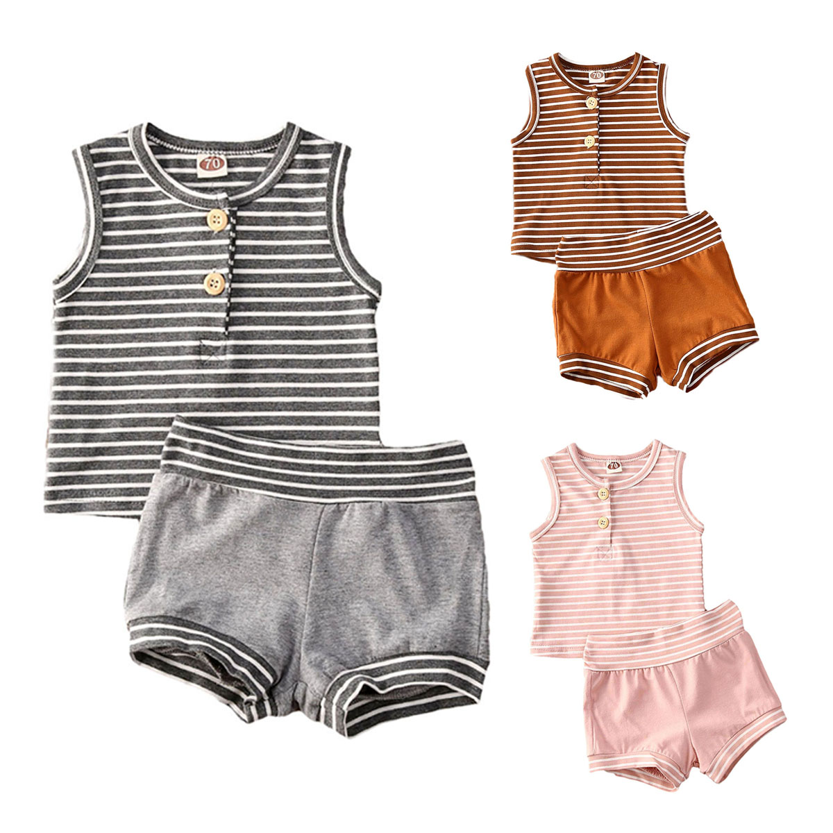 AA Baby Boy Girl Clothes Striped Sleeveless Vest Shirt Top+Shorts Casual Tracksuit Outfit Unisex Baby Clothing Sets