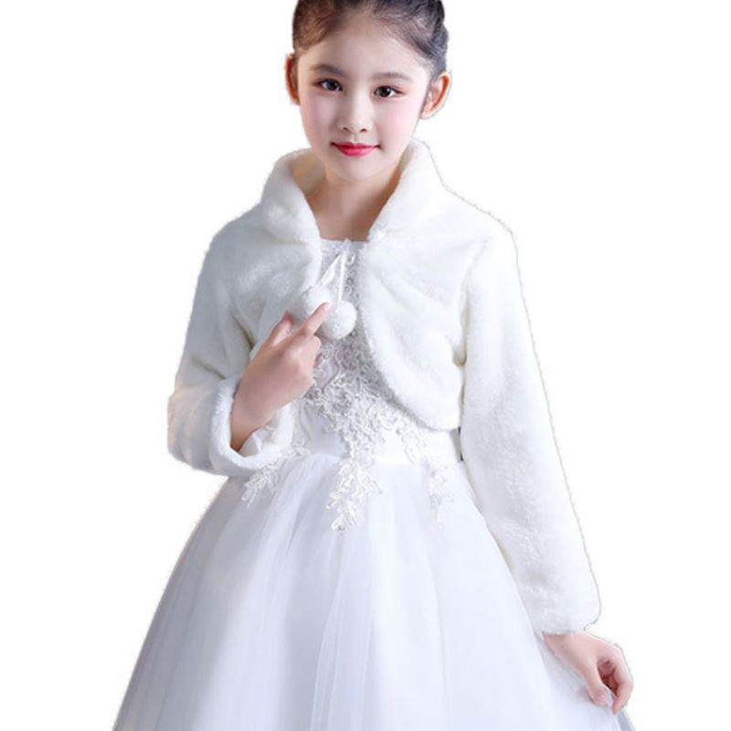 Kids Princess Thicken Plush Wraps Shawl Flower Girls Long Sleeve Bolero Shrug Cape Wedding Birthday Party Jacket With Pompom Tie