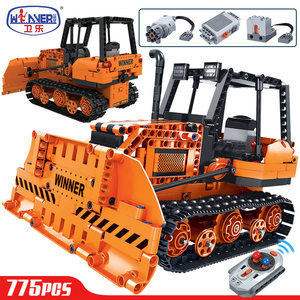 Hipac 775pcs Technic Remote Control Engineering Truck Building Blocks City RC Bulldozer Car Bricks Sets Toys For Children