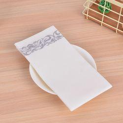 Одноразовые льняные полотенца для гостей-декоративные белые полотенца для рук, Серебряные цветочные бумажные салфетки