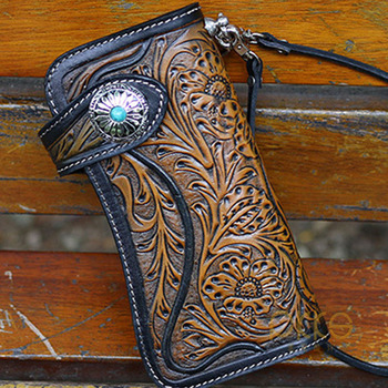 Men Women Holder Anti Lost With Chain Button Open Artificial Cow Leather Gift Long Wallet Casual Japanese Carved Handmade