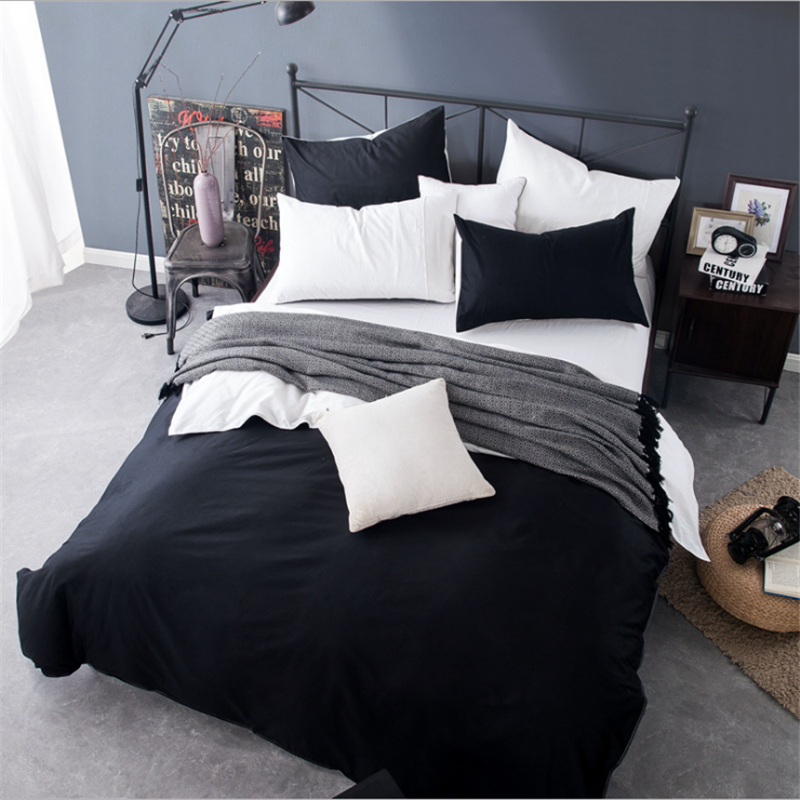 1Pcs 100% Cotton Duvet Cover Solid Color Queen King Size Quilt Cover Single Double Bed Hotel Home Bedding Article Free Shipping