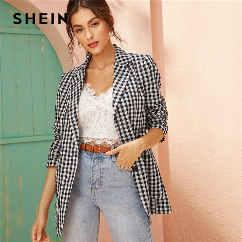 SHEIN Black And White Notched Collar Gingham Blazer Outerwear Women Autumn Spring Single Breasted Plaid Casual Coat Blazers