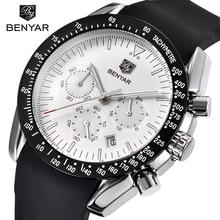 BENYAR Men Watch Top Brand Luxury Male Silicone Strap Waterproof Sport Quartz Chronograph Military Wrist Watch Men Clock relogio