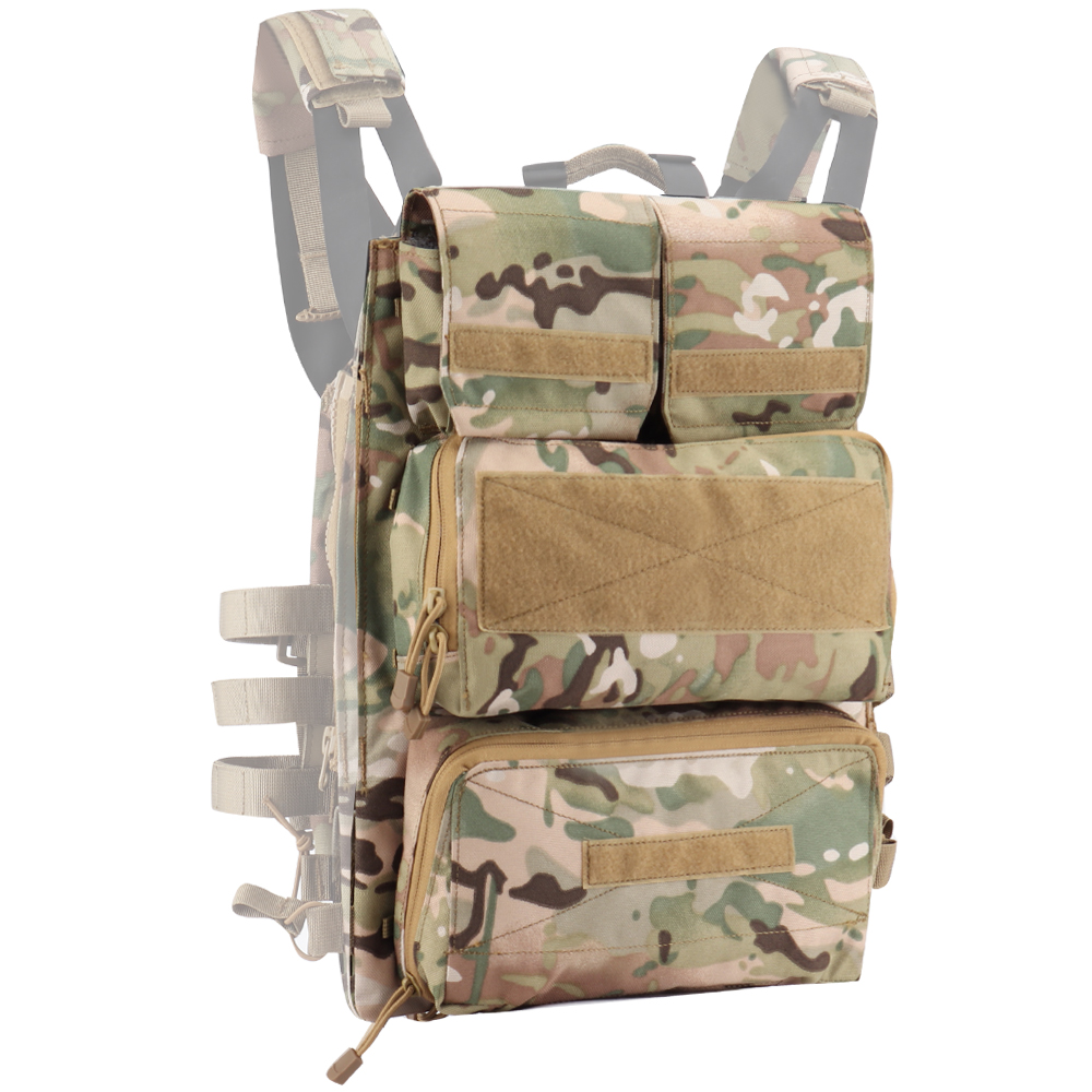 Tactical Zipper-on Plate Pouch Fashion 1000D Nylon Zip-on Panel Hunting Bag Outdoor Airsoft For JPC CPC AVS Vest