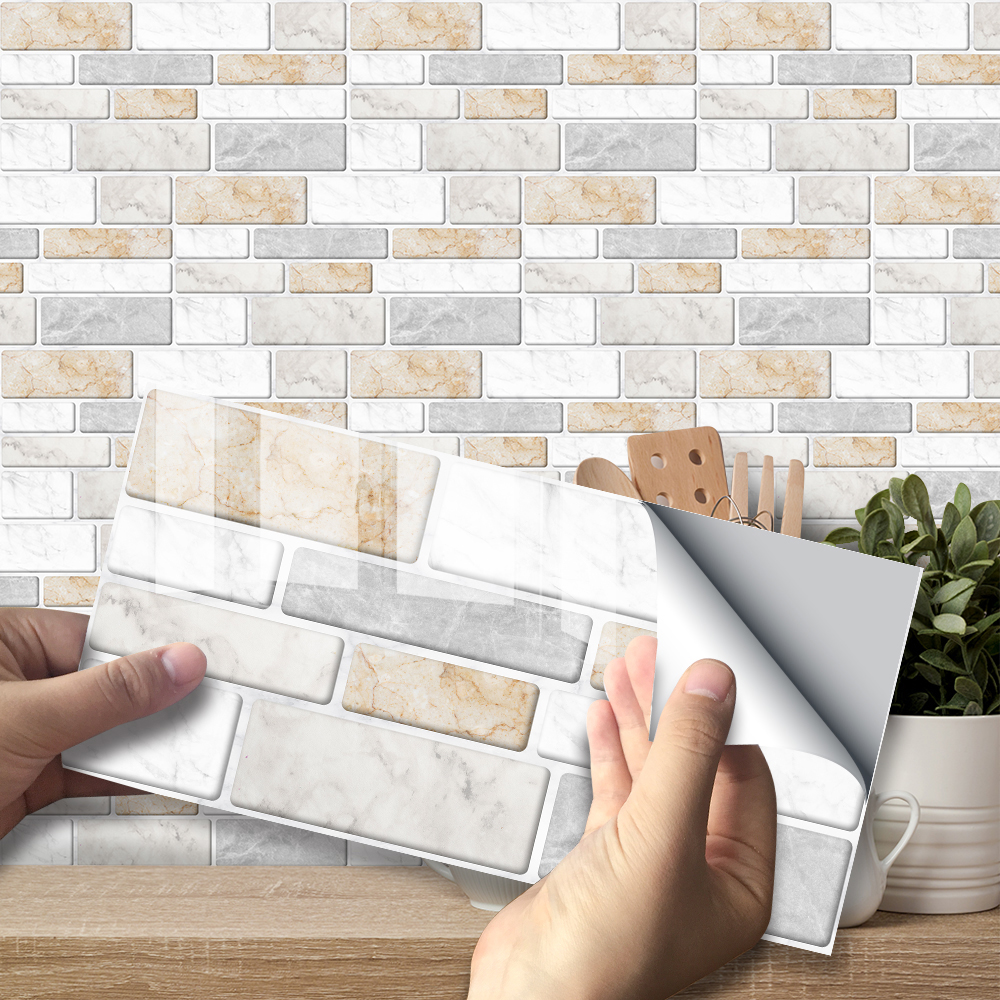 Warm Marble Wall Stickers Retro Oil-proof Waterproof Tile Wallpaper For Kitchen Bathroom Ground Wall House Decoration