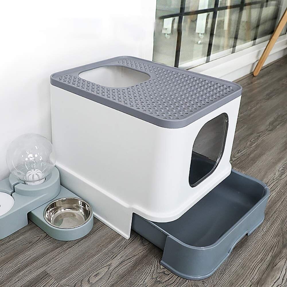 Коробка для кошачьих туалетов, верхняя часть, песочница для кошек, большой объем, лоток для туалета, закрытый ящик для брызг, стильный поднос
