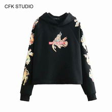Women hoodies autumn sweatershirt 2019 new fashion cartoon printed loose pullover femme black vintageJumper Hoodies