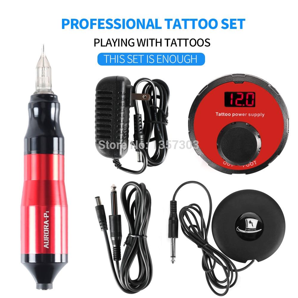 Top Verkauf Rotierenden Stift Tattoo Maschine Set Tattoo Stift Magier LCD Power Pedal Tattoo Versorgung Kostenloser Lieferung-in Tätowier-Sets aus Haar & Kosmetik bei  Gruppe 1