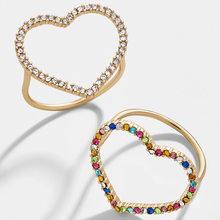 Anillos de oro geométrico con corazón grande para parejas, anillos de dedo con diamantes de imitación coloridos románticos para mujer, joyería de boda para fiesta