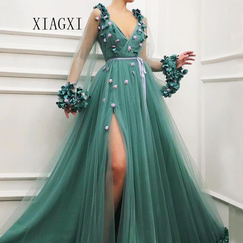 XIANGXI Dark Green Evening Dress Long Deep V-Neck Full Sleeves Split Evening Dresses Prom Dress Party Gowns Robe De Soiree