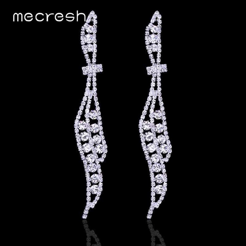 Mecresh, серебряное золото, длинная ниспадающая кисточка, серьги со стразами, свадебные серьги для женщин, 2019, ювелирные изделия для помолвки EH424