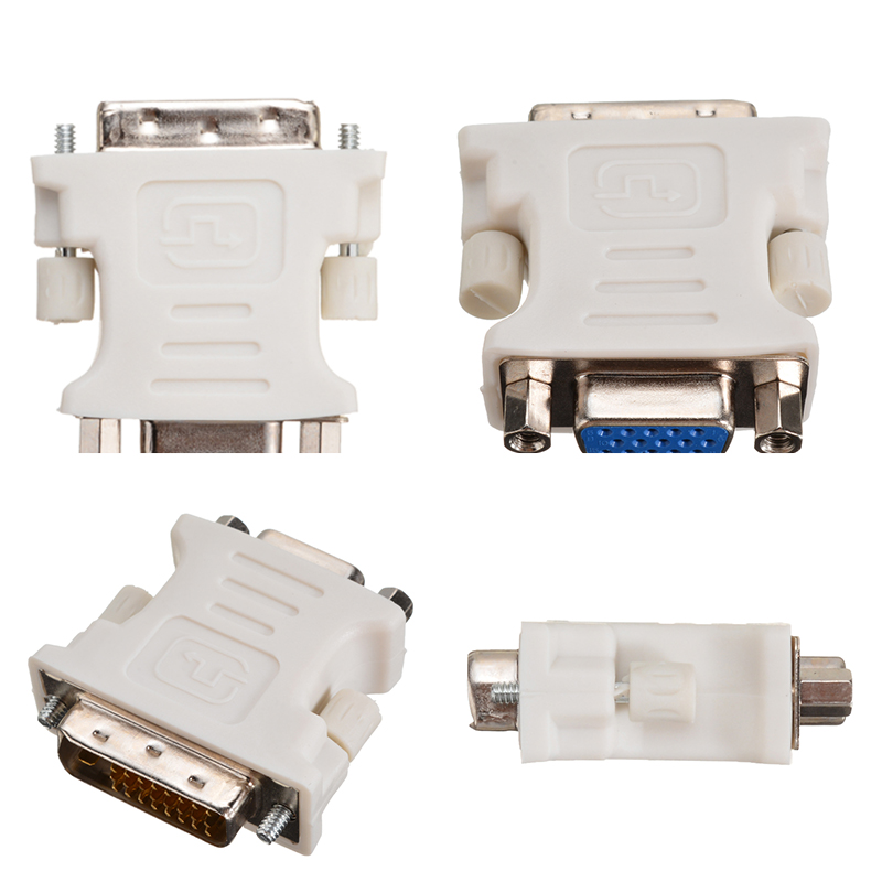 Onsale DVI-D To VGA Adapers White 24+1 Pin DVI-D Male To 15 Pin VGA Female Adapter Video Converter For PC Laptop Accessories