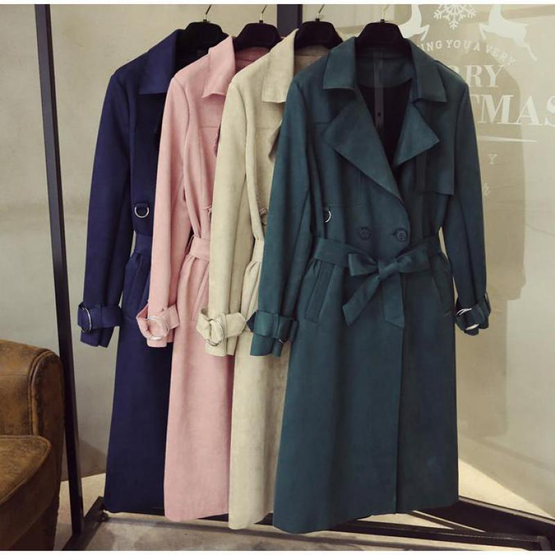 Turn Down Collar Sash Suede Long Trench Coat 2