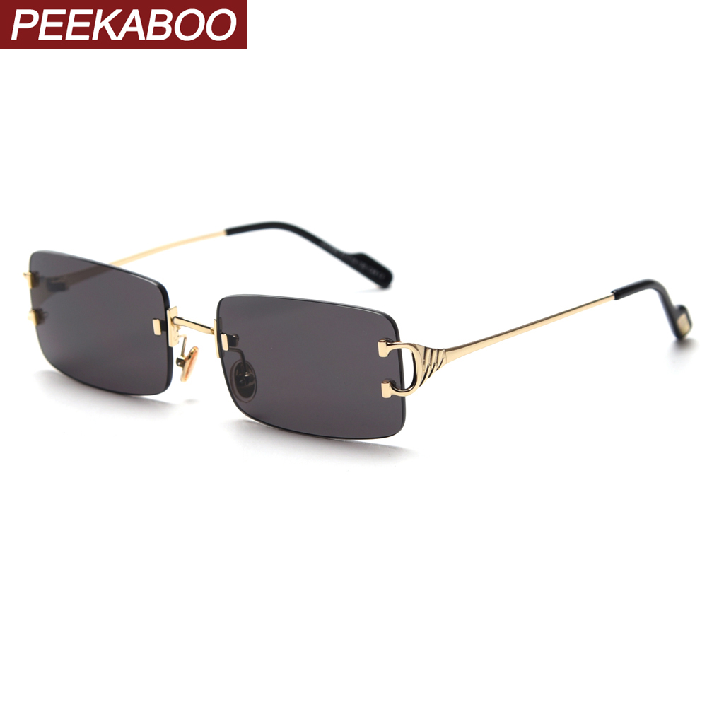 Peekaboo Red Tinted Sunglasses Rimless Men Retro Rectangular Sun Glasses For Women 2020 Summer Green Gold Metal High Quality