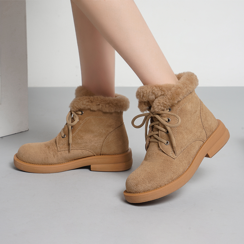 women flat lace up snow boots white ankle for casual womens round toe Warm Winter Women Shoes  plus fur