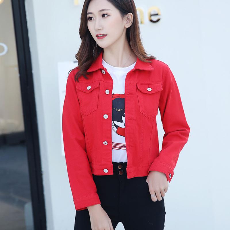 Hc391c26f35b041a6af9cb9d6b715c0e5Z 2019 Fashion Jeans Jacket Women Spring 2XL XL Spring Autumn Hand Brush Long Sleeve Stretch Short Denim Jacket White Pink Coats