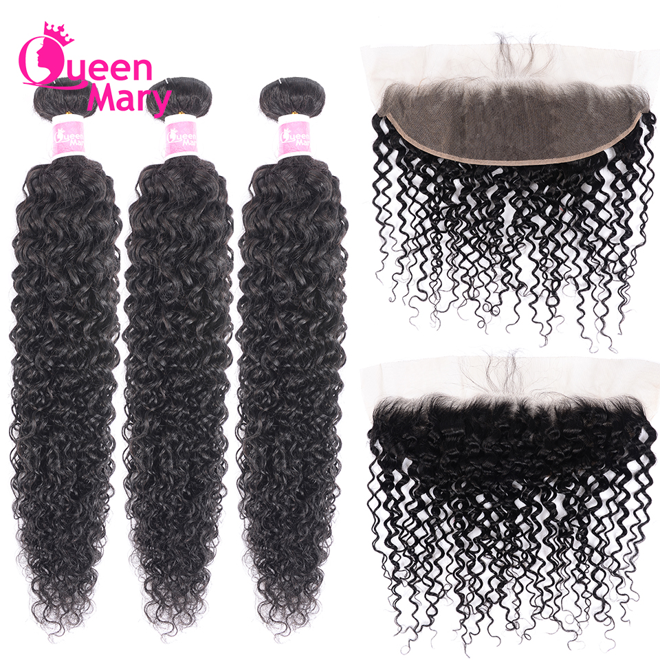 Queen Mary Hair Brazilian Curly Bundles With Frontal Closure 3 Bundles With 13x4 Lace Frontal Closure 100% Human Hair Non Remy