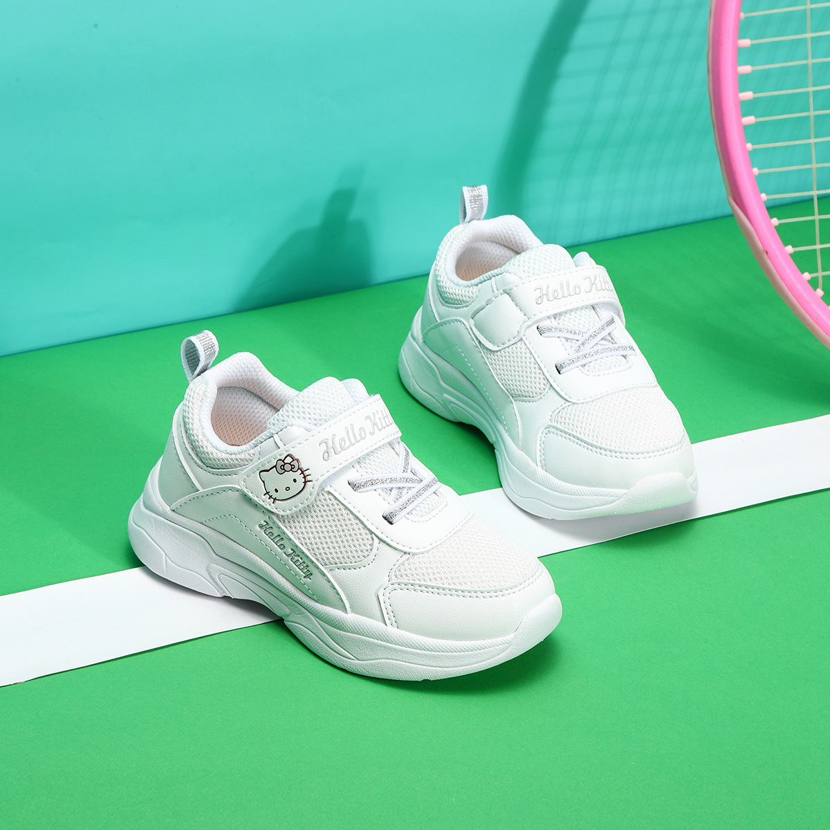 Hello Kitty Children's Shoes Spring And Autumn Children Casual Velcro Trend Girls Casual Sports Shoes