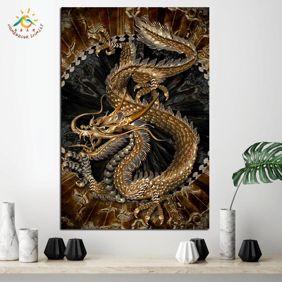 chinese gold dragon embroidery wall art in wood frame