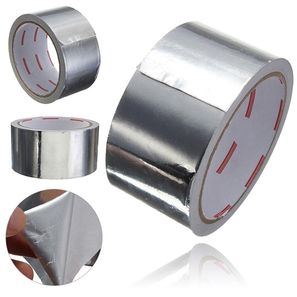 1 Roll 5CM * 17M Adhesive Sealing Tape Heat Resistance Pipe Repair High Temperature Resistant Aluminium Foil Adhesive Tape