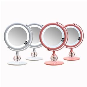 Image 1 - LED 미러 메이크업 미러 터치 스크린 럭셔리 미러 3 광도 LED 조명 180 학위 조절 테이블 화장 거울