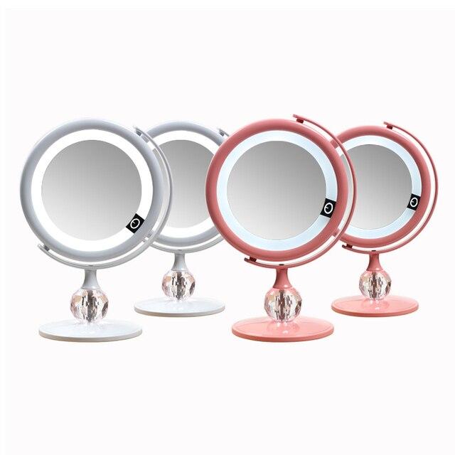 LED 미러 메이크업 미러 터치 스크린 럭셔리 미러 3 광도 LED 조명 180 학위 조절 테이블 화장 거울