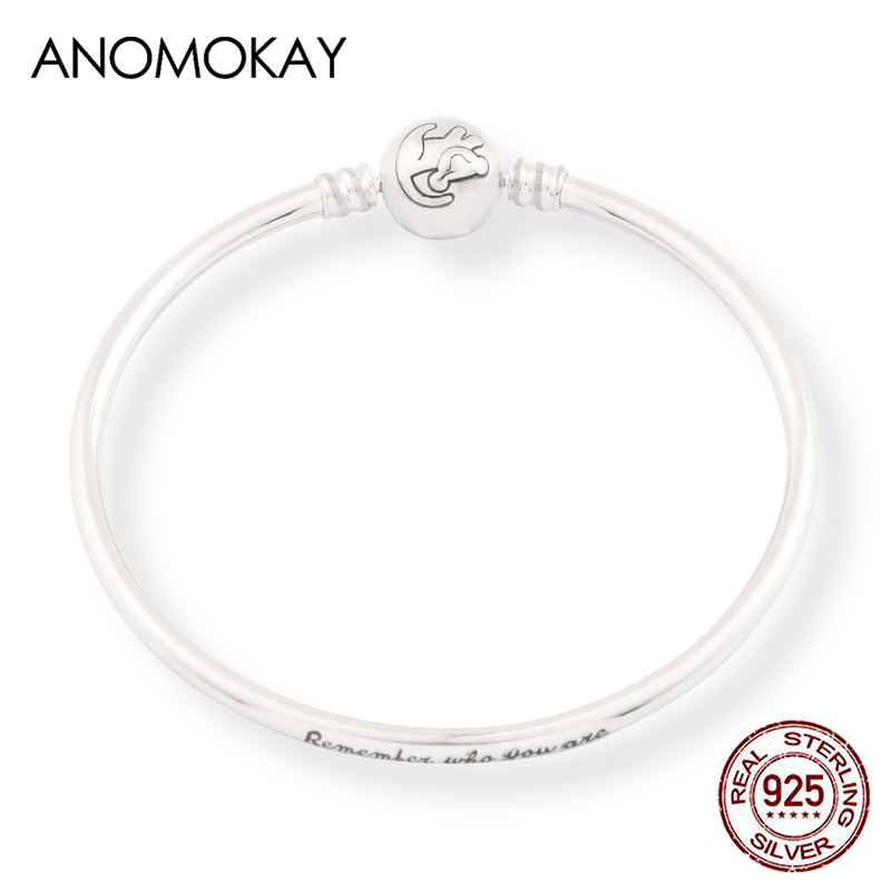 Anomokay New 100% 925 Sterling Silver Cute Little Lion Bangles Bracelets for Children Fashion Birthday Gift S925 Silver Jewelry