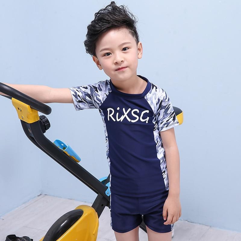 KID'S Swimwear BOY'S Split Type Sports Teenager Swimming Trunks Big Boy Baby Boy Sun-resistant Swimwear With Cap