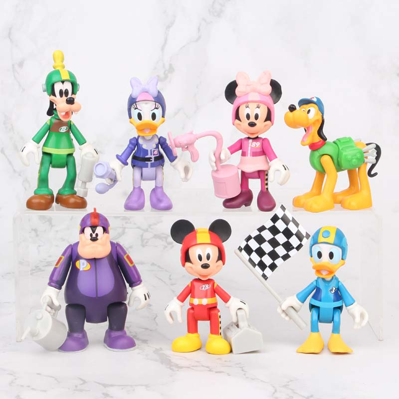 Disney Figures Joints Can Move Mickey Mouse Minnie Donald Duck Scene Racing Cake Decoration Action Figures Toys For Birthday