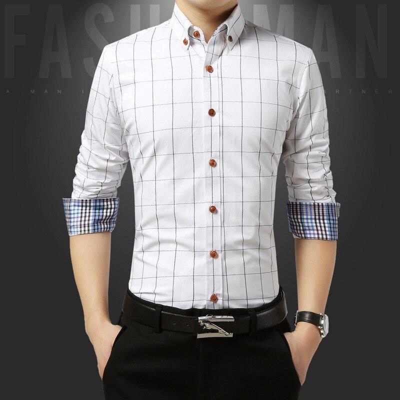 Autumn Men's Plaid V Neck Long-sleeved Shirt Casual Large Size Men'S Wear Men Slim Fit Shirt Cardigan