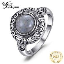 JewelPalace 2ct Vintage Echtem Labradorit Ring 925 Sterling Silber Ringe für Frauen Silber 925 Schmuck Edelsteine Edlen Schmuck
