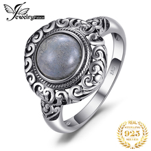 цены JewelryPalace Vintage 1.8ct Genuine Labradorite 925 Sterling Silver Rings Carved Solitaire Finger Rings Luxury Fine Jewelry