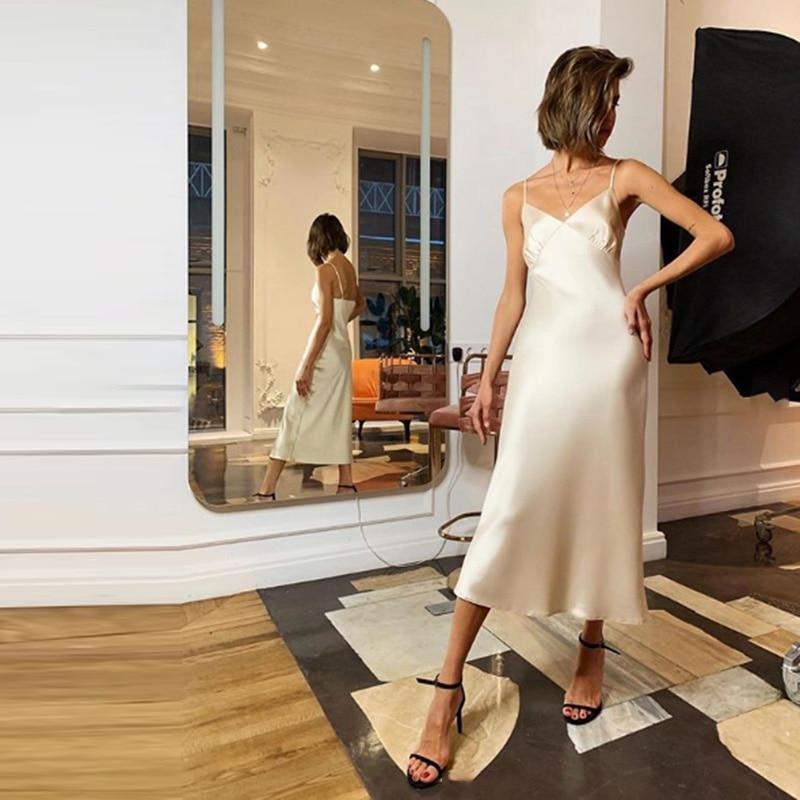 2020 Women Satin Deep V Neck Sexy Dress Solid Straight Pajamas Party Dress Elegant Female Summer Spaghetti Strap Dress Casual